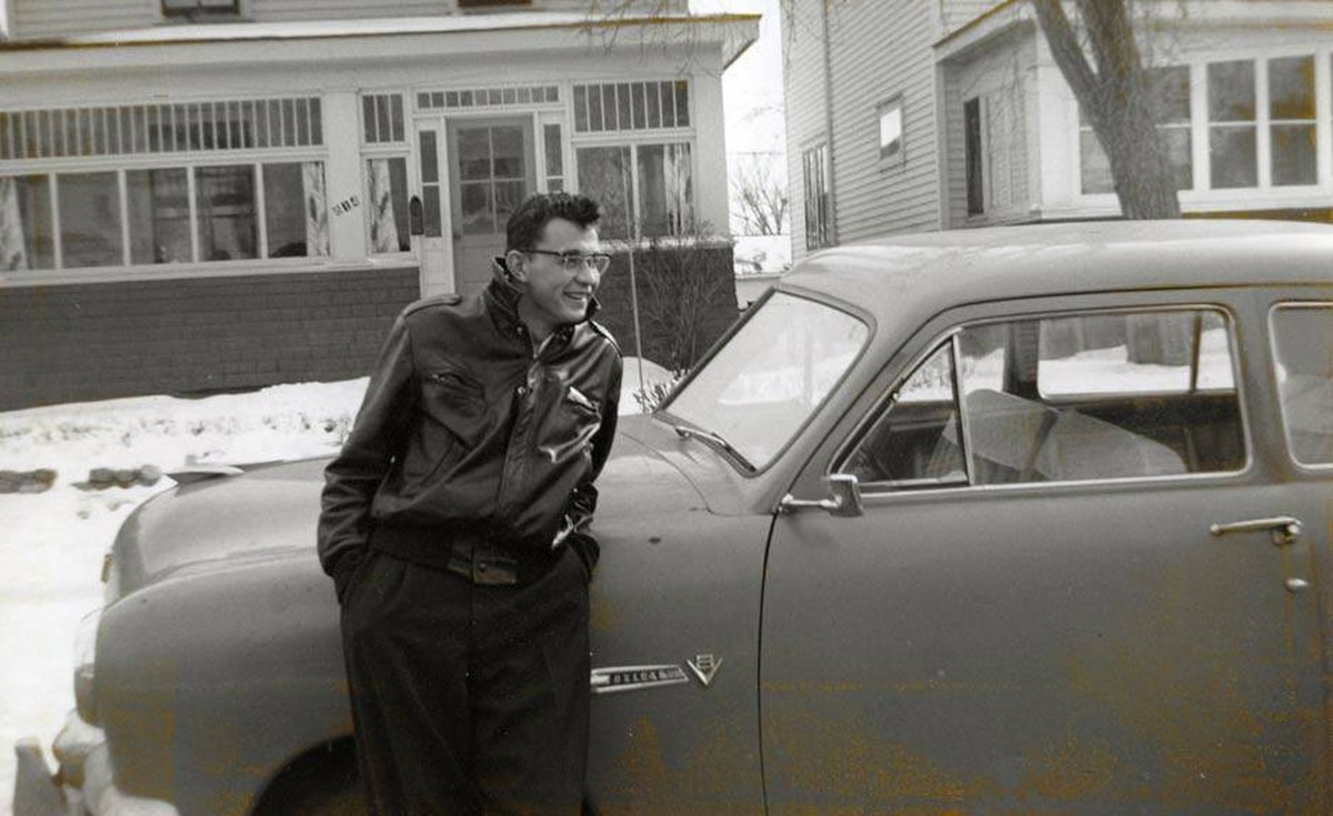 'Here is picture of my Dad, Ernie, striking a wicked cool James Dean pose back in the day. He's got it going on and shortly after this he started dating my Mom and well...,' writes Tom Love.