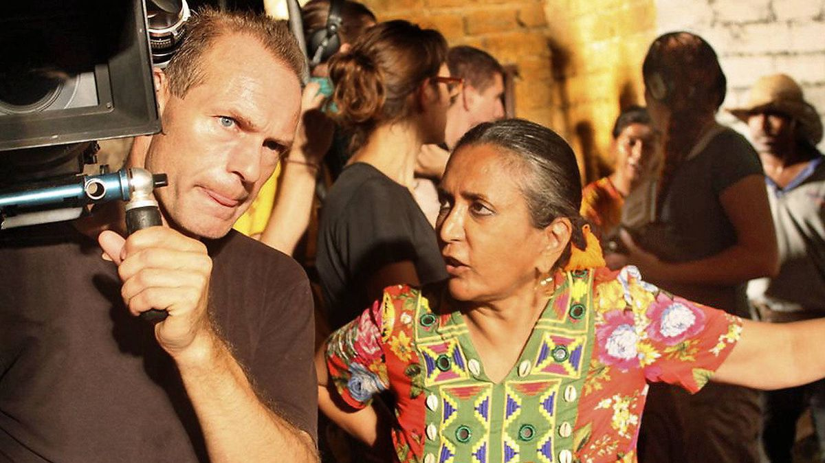 Deepa Mehta works with photography director Giles Nuttgens on the set of Midnight's Children, Mehta's adaptation of the Salman Rushdie novel.