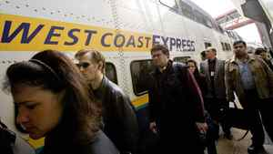Passengers of the West Coast Express arrive during the morning rush hour at the Waterfront Station May 17, 2007 in downtown Vancouver.