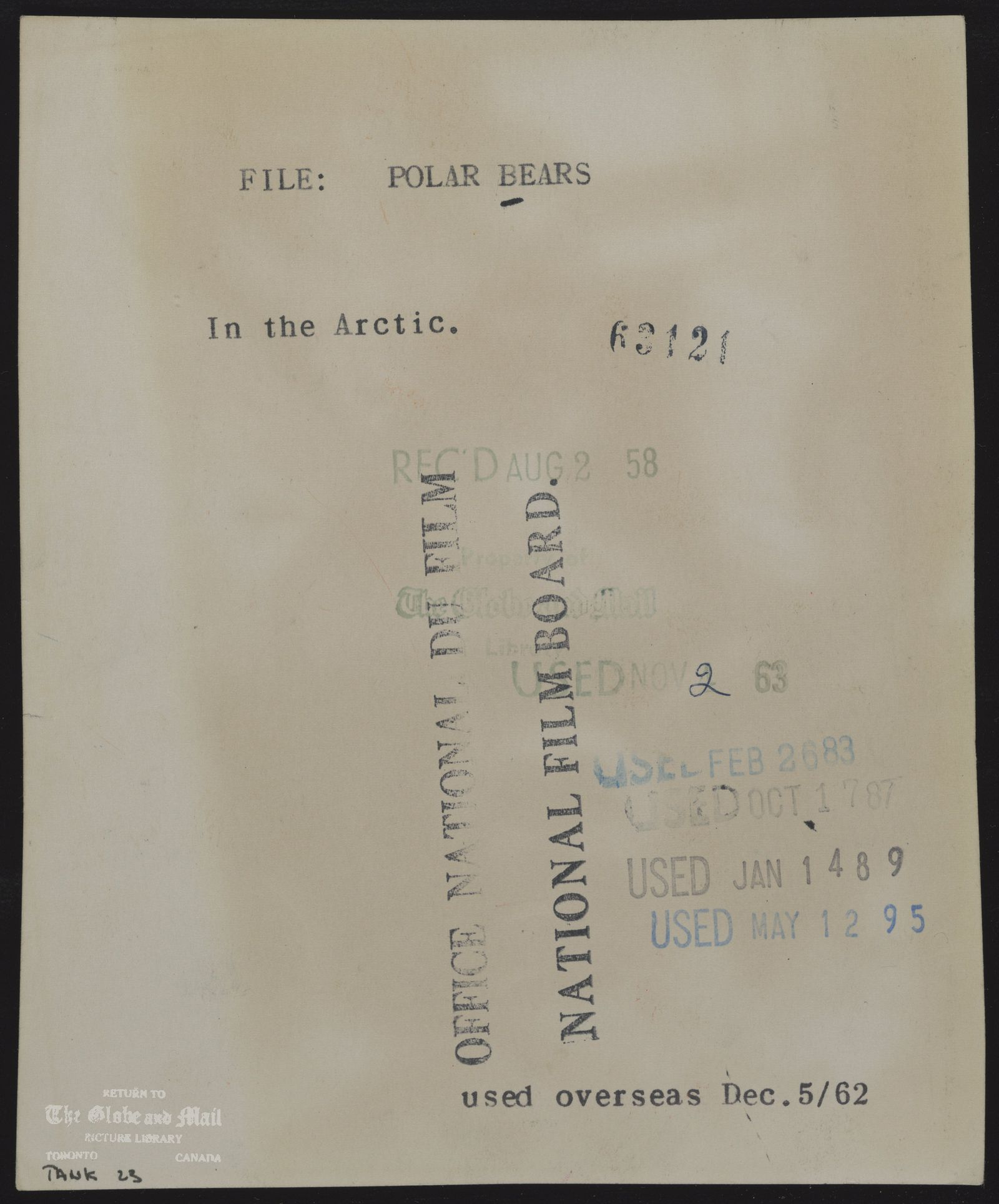 The notes written and typed on the back of this photograph, from the time it was printed, are as follows: POLAR BEARS In the Arctic.August 2, 1958,