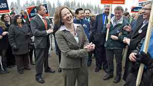 Progressive Conservative Leader Alison Redford has a laugh with supporters as the Alberta election kicks off in Edmonton on March 26, 2012.