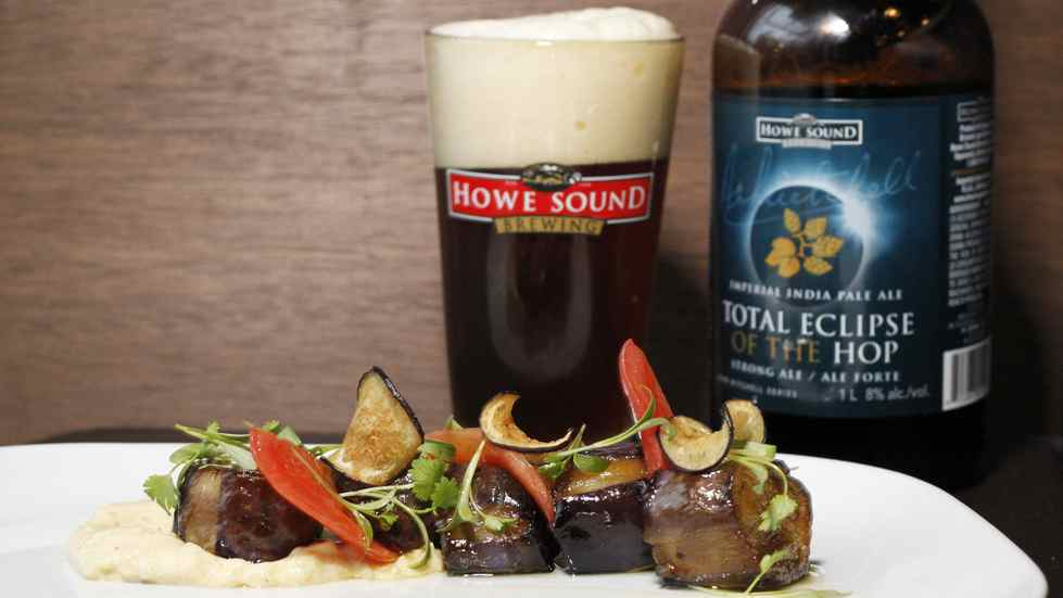 Sweet and Sour eggplant is paired with Howe Sound Total Eclipse of the Hop at Ensemble Tap in Vancouver.