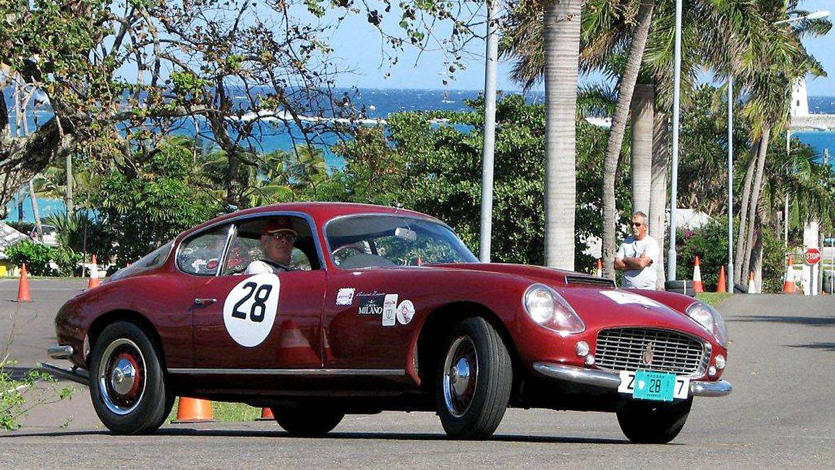 Anatoly Arutonoff, who came to Nassau as a pit crew member in 1962 and later raced his own Lancias there, powers his Zagato Bristol up the hill.