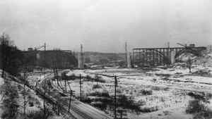 The Prince Edward Viaduct (better known as the Bloor Viaduct) under construction Dec. 31, 1916.