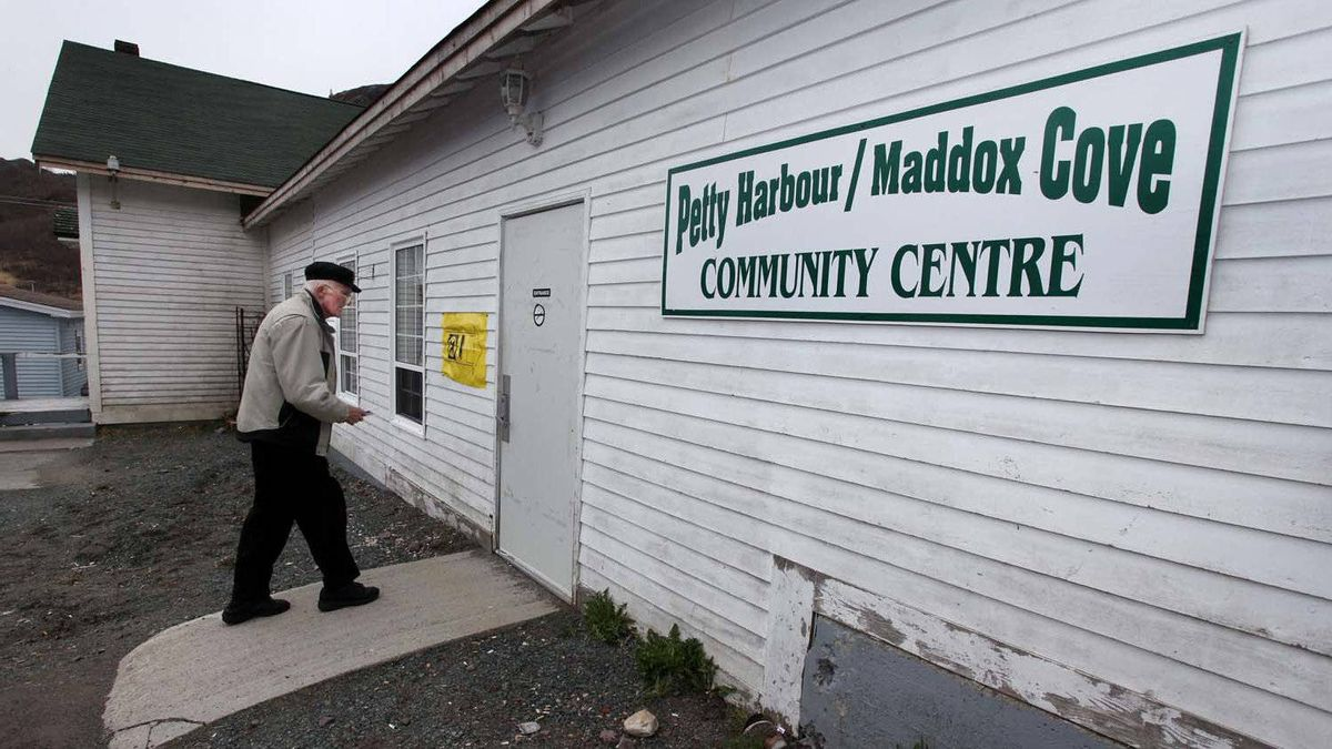 A voter enters the polling station at the Petty Harbour-Maddox Cove Community Centre in a small fishing village outside of St. John's, Nfld, on Monday.