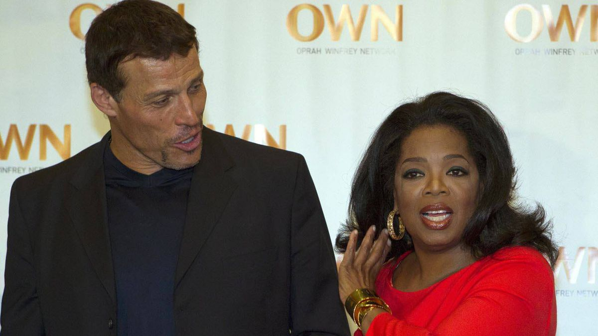 Oprah Winfrey and Anthony Robbins arrive for Oprah's Lifeclass Tour in Toronto on Monday April 16, 2012.