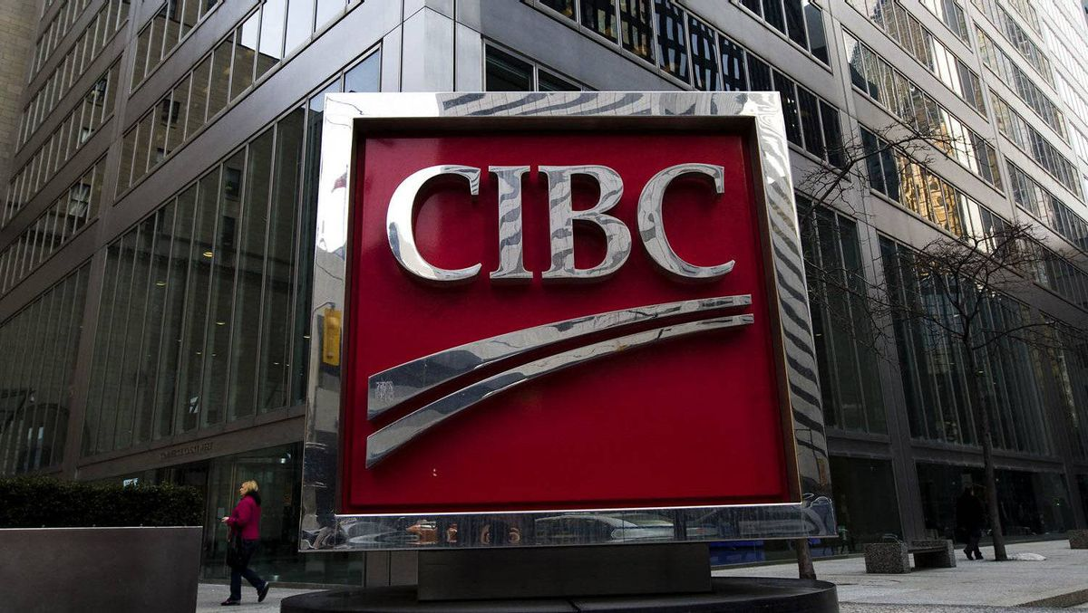 A photograph of the CIBC sign in Toronto's financial district in downtown Toronto on Thursday, Feb. 26, 2009.