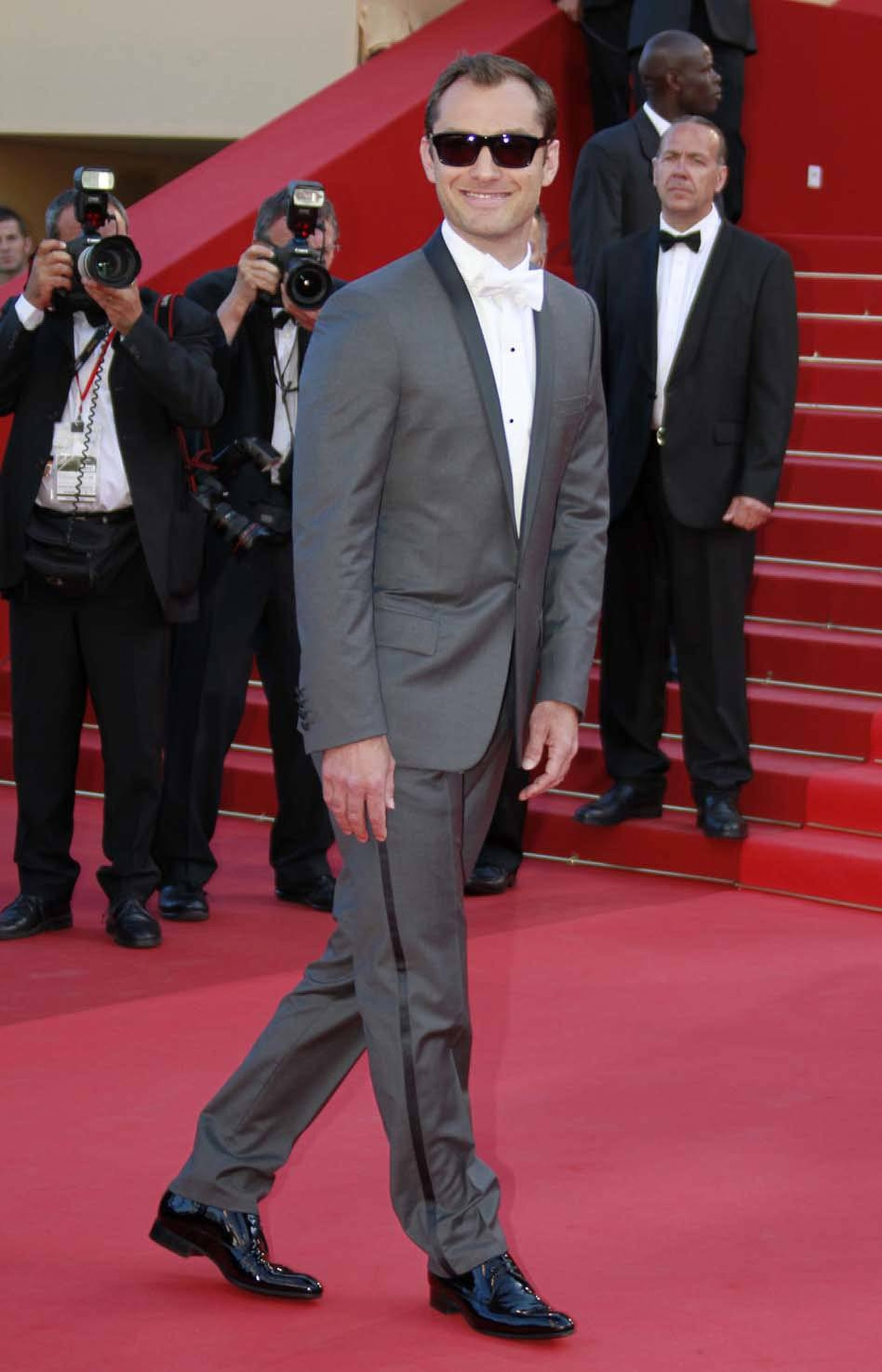 """Cannes jury member Jude Law on the red carpet for the screening of the film """"The Tree of Life"""" at the Cannes Film Festival on Monday."""