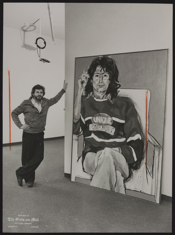 Alkis KLONARIDIS Toronto. Art gallery owner with painting