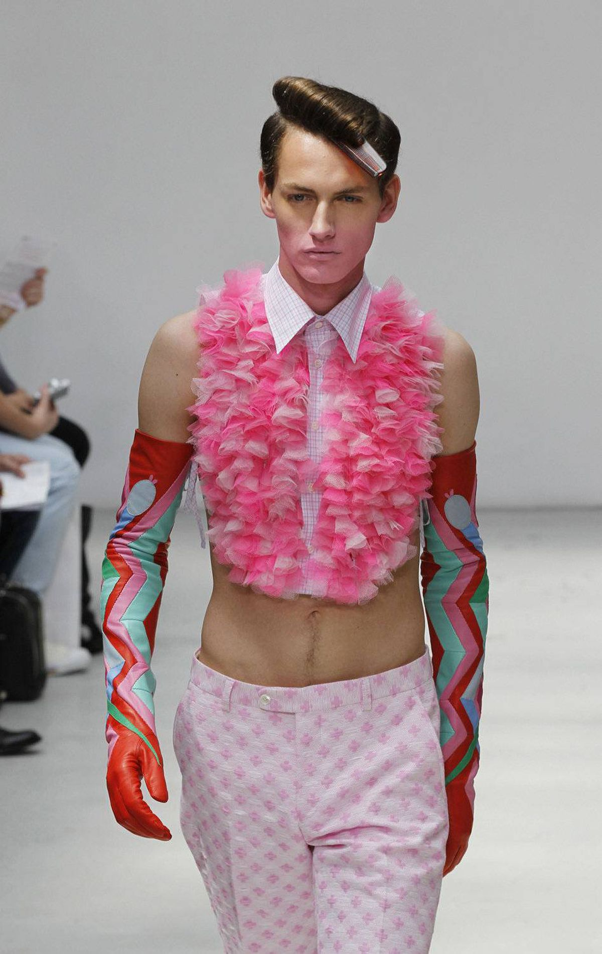 A model wears a creation by Belgian fashion designer Walter Van Beirendonck during his men's spring-summer 2012 fashion collection show on June 24, 2011 in Paris.