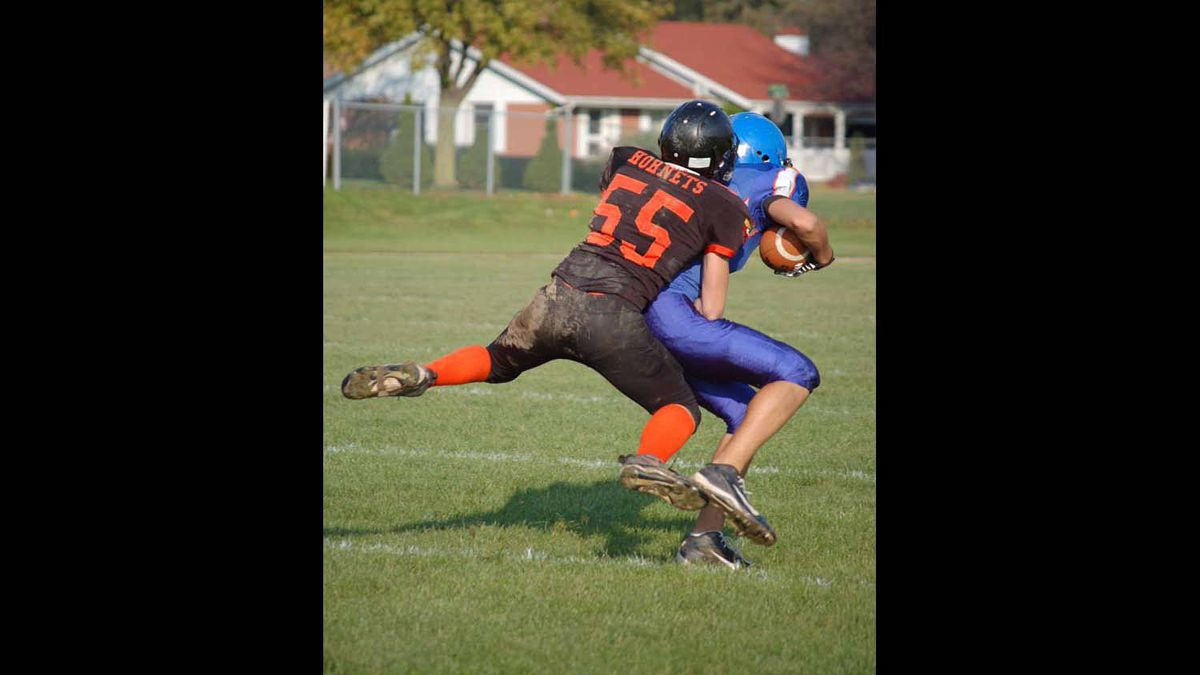 A great tackle at a football game at Centennial High School in Welland, Ontario.