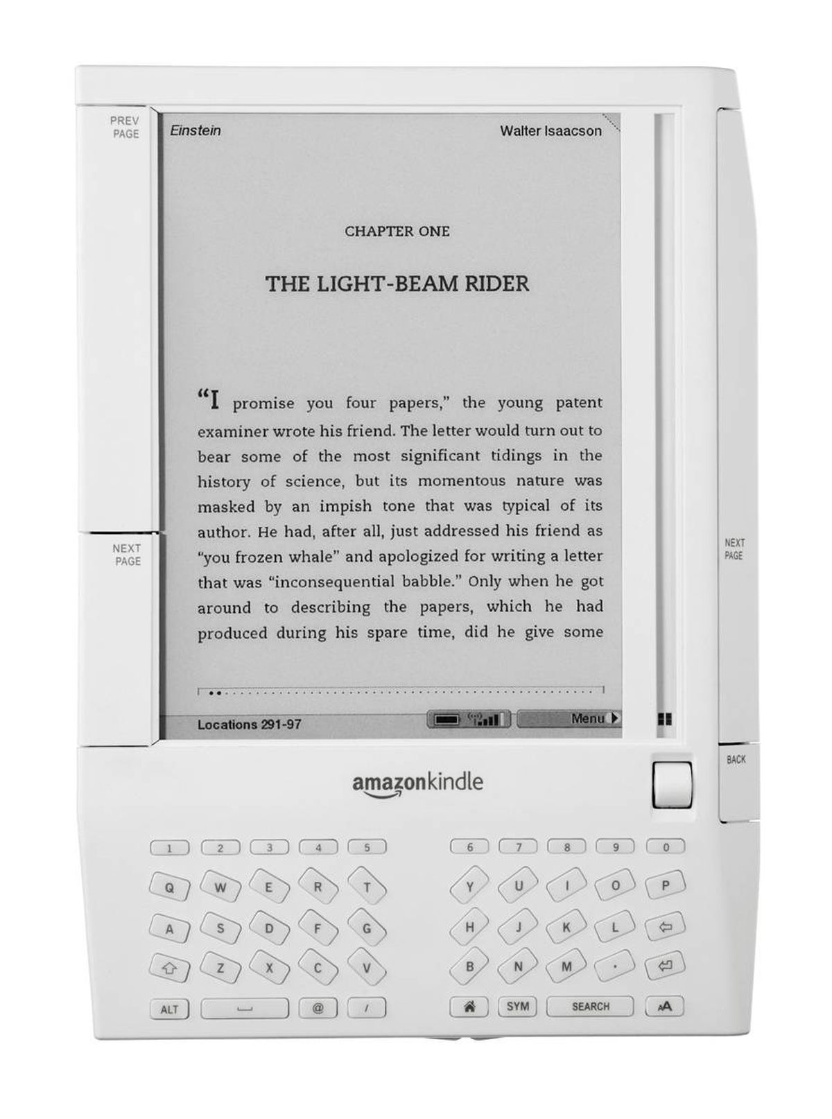 The original Amazon Kindle let users download books, newspapers and blogs over a wireless connection. It can carry about 200 books downloaded from Amazon.com, but is not yet available in Canada.