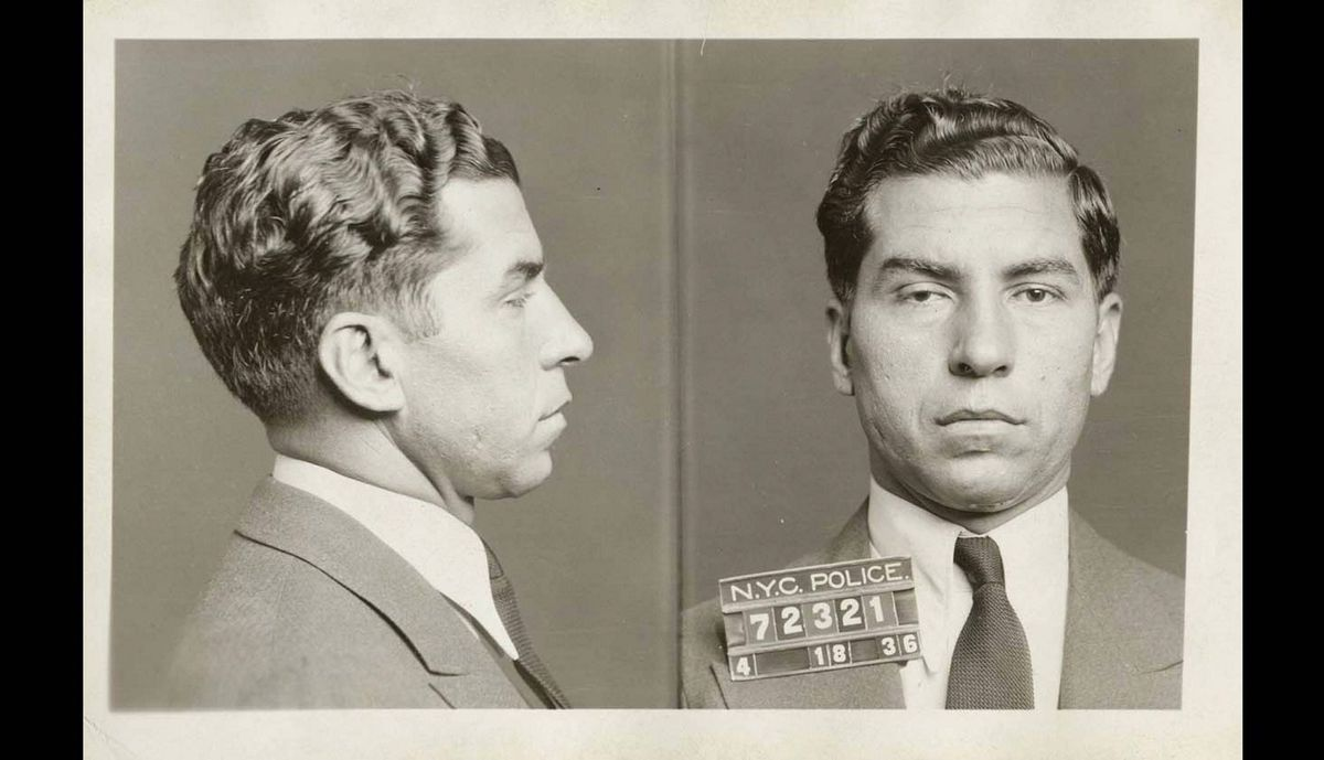 """In this April 18, 1936 photo provided by the New York City Municipal Archives, the police booking photo of Charles """"Lucky"""" Luciano is shown in New York."""