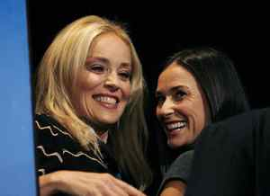 Sharon Stone and Demi Moore at a press conference for the film 'Bobby' at the Toronto International Film Festival, Sept. 14, 2006.