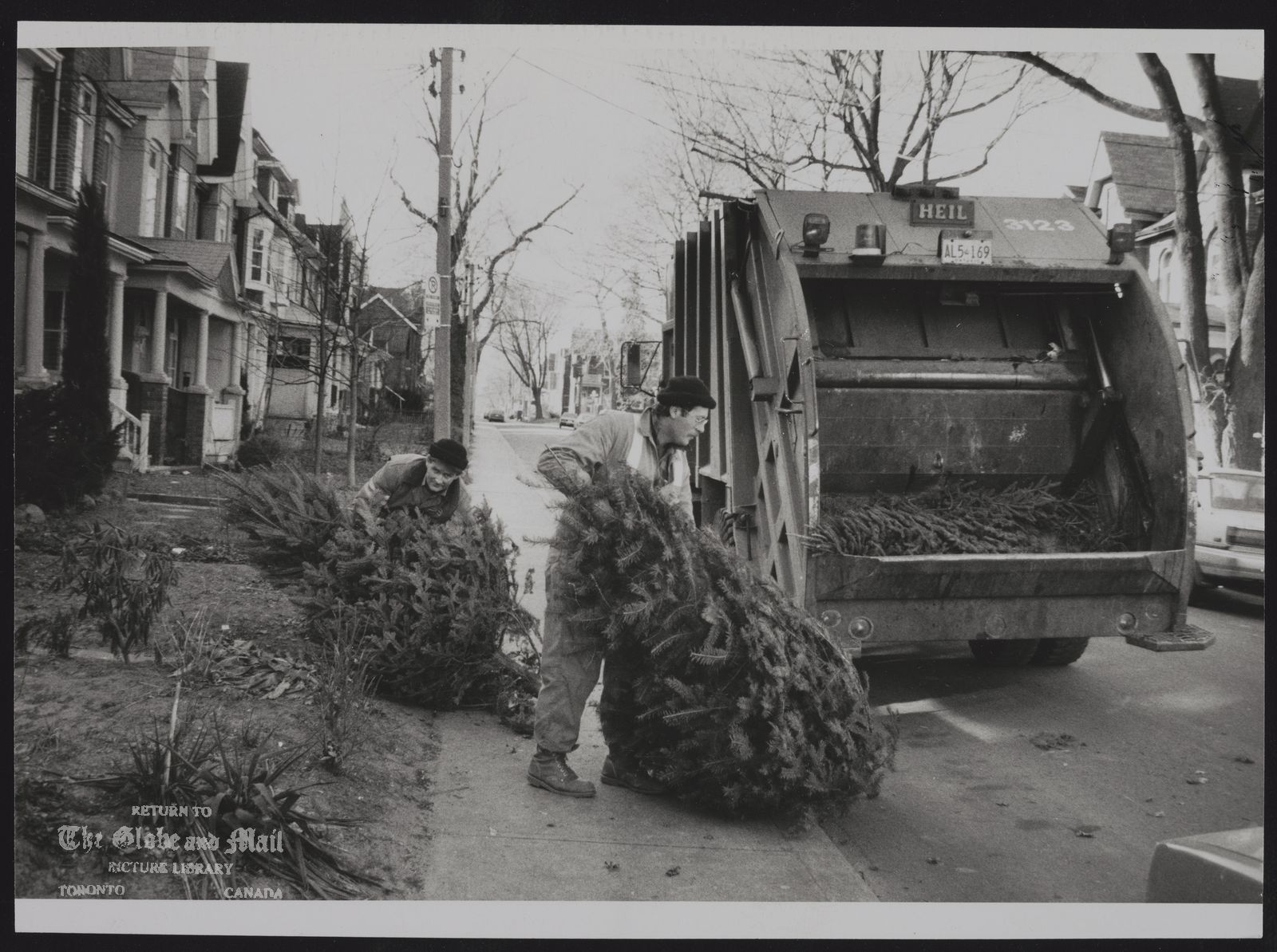 GARBAGE City of Toronto Sanitation Dept picks up Christmas tress which will be ground down into chips for use in parks.