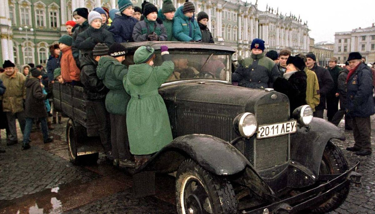 Russia's oldest auto maker is GAZ, which began life as the Gorky Automobile Factory after the 1917 October Revolution. Here, children in St. Petersburg take a ride on an historic 1941 GAZ truck used to bring food to citizens of seiged Leningrad during the World War Two.