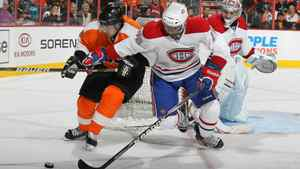 P.K. Subban #76 of the Montreal Canadiens and Danny Briere #48 of The Philadelphia Flyers battle for the puck during their game on November 22, 2010 at The Wells Fargo Center in Philadelphia, Pennsylvania.