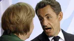 French President Nicolas Sarkozy, right, and German Chancellor Angela Merkel