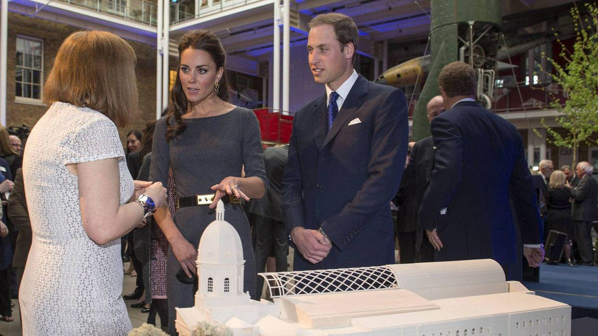 A few days before their one-year anniversary, Prince William and Kate stand next to a model of the new First World War Galleries at the Imperial War Museum in London on April 26, 2012.