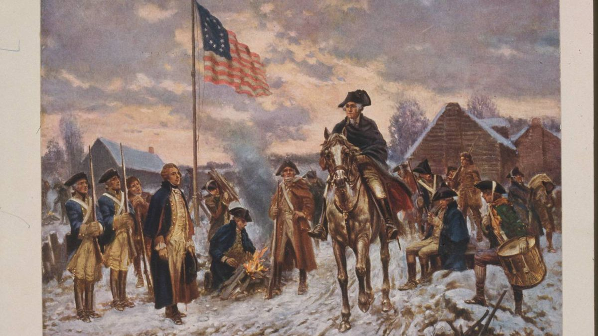 George Washington on horseback in snow at Valley Forge.