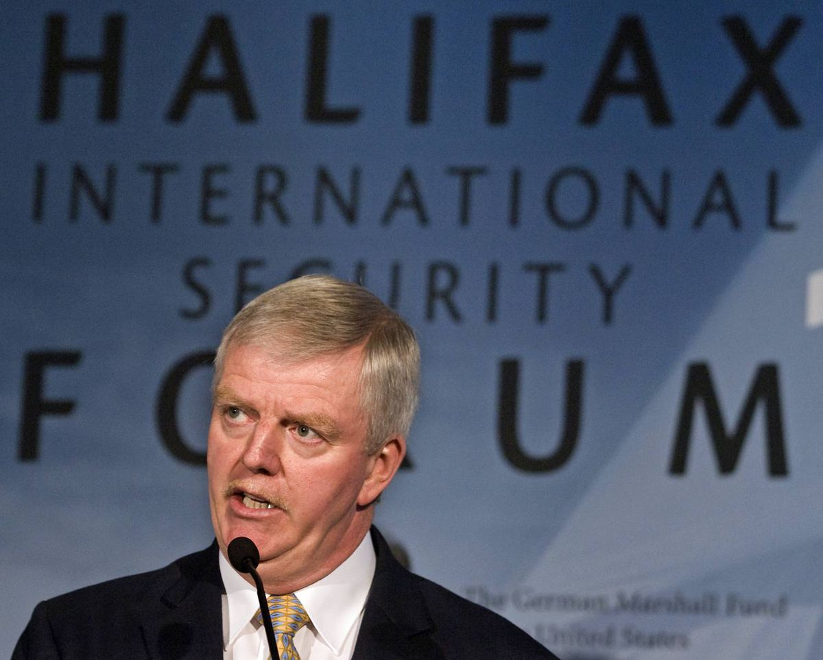 Rick Hillier, former chief of Canada's defence staff, fields a question at the Halifax International security Forum on Saturday, Nov. 21, 2009.