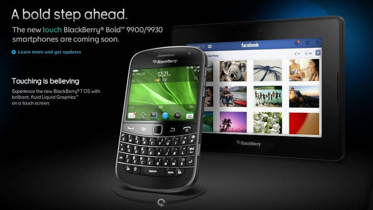 A screenshot of Research in Motion's webpage featuring the new BlackBerry Bold.