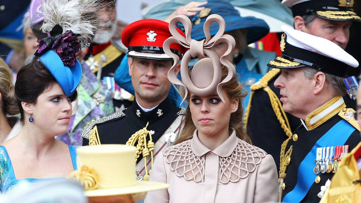 From left to right, Princess Eugenie of York, Prince Edward, Earl of Wessex, Princess Beatrice of York and Prince Andrew, Duke of York gather after the marriage of Prince William, Duke of Cambridge and Catherine, Duchess of Cambridge at Westminster Abbey.