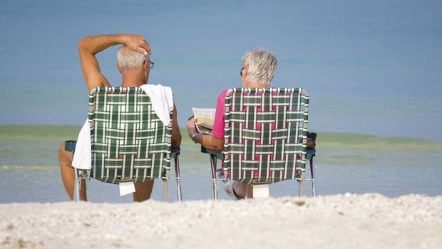 File #: 4252358 Senior Moment Couple on Beach in Florida Two senior citizens enjoy the early morning calm of the Gulf of Mexico at Bonita Beach, Florida. Credit: iStockphoto (Royalty-Free) Keywords: Senior Adult, Retirement, Vacations, Beach, Florida, Couple, Chair, People, Fun, Sun, Relaxation, Sunbathing, Summer, Bay