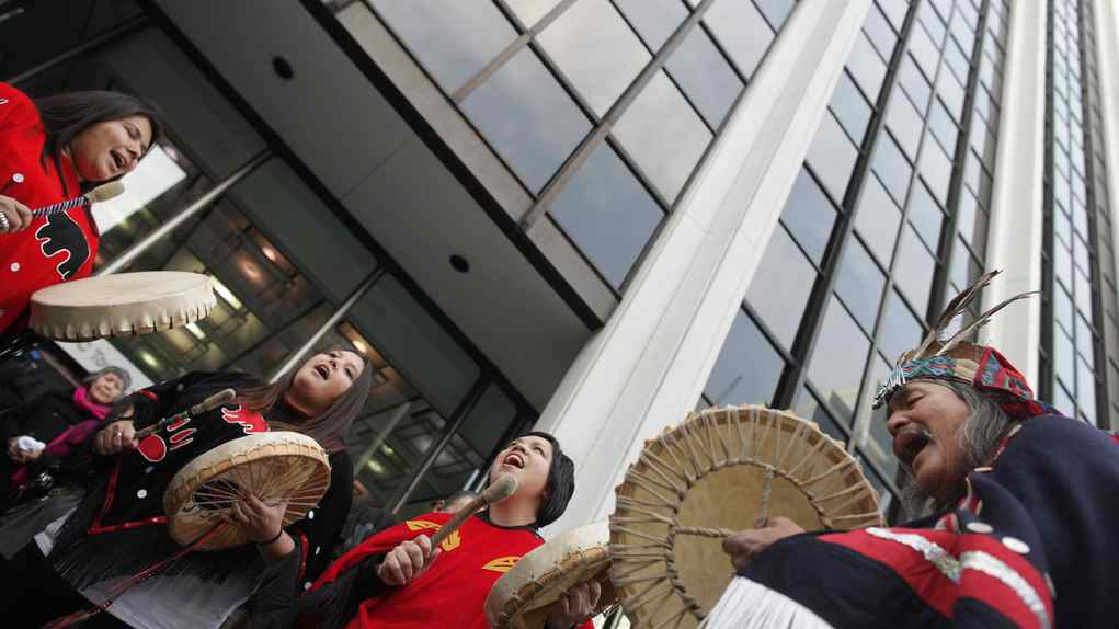 Native protesters demonstrate at the Enbridge headquarters in Vancouver on Dec. 2, 2010.