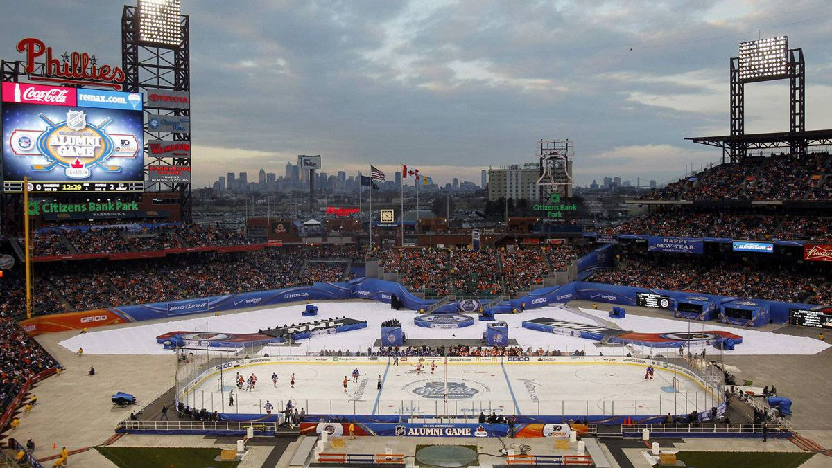 A view of Citizen's Bank Ballpark while the Philadelphia Flyers alumni plays against the New York Rangers alumni during the second period of the 2012 NHL Winter Classic Alumni hockey game in Philadelphia, Pennsylvania, December 31, 2011. REUTERS/Tim Shaffer