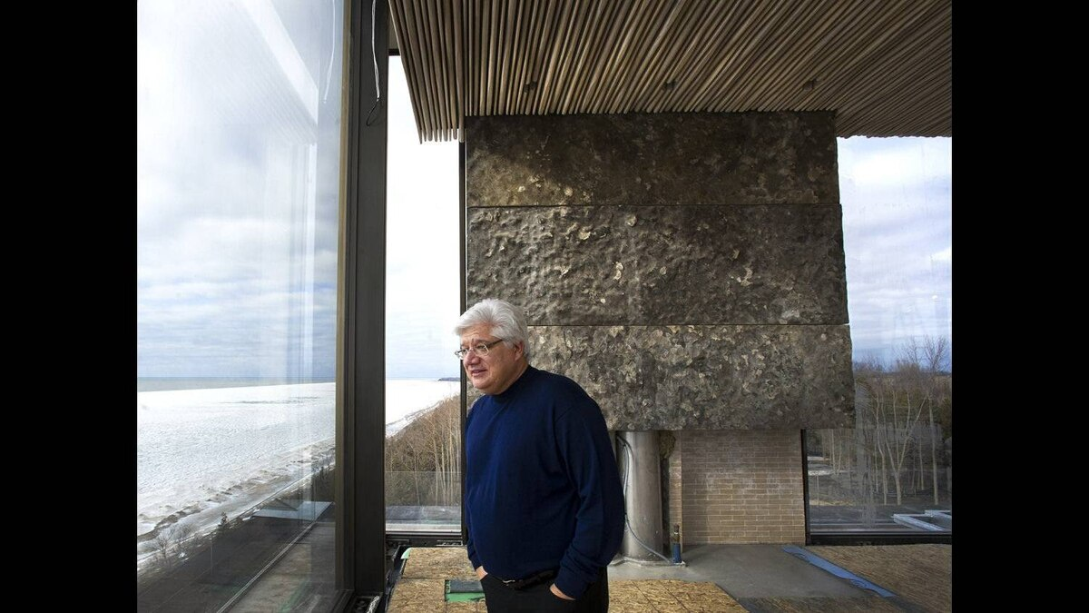 Former RIM co-CEO Mike Lazaridis takes in the view at his property located near Amberley, Ont. Feb. 1, 2012.