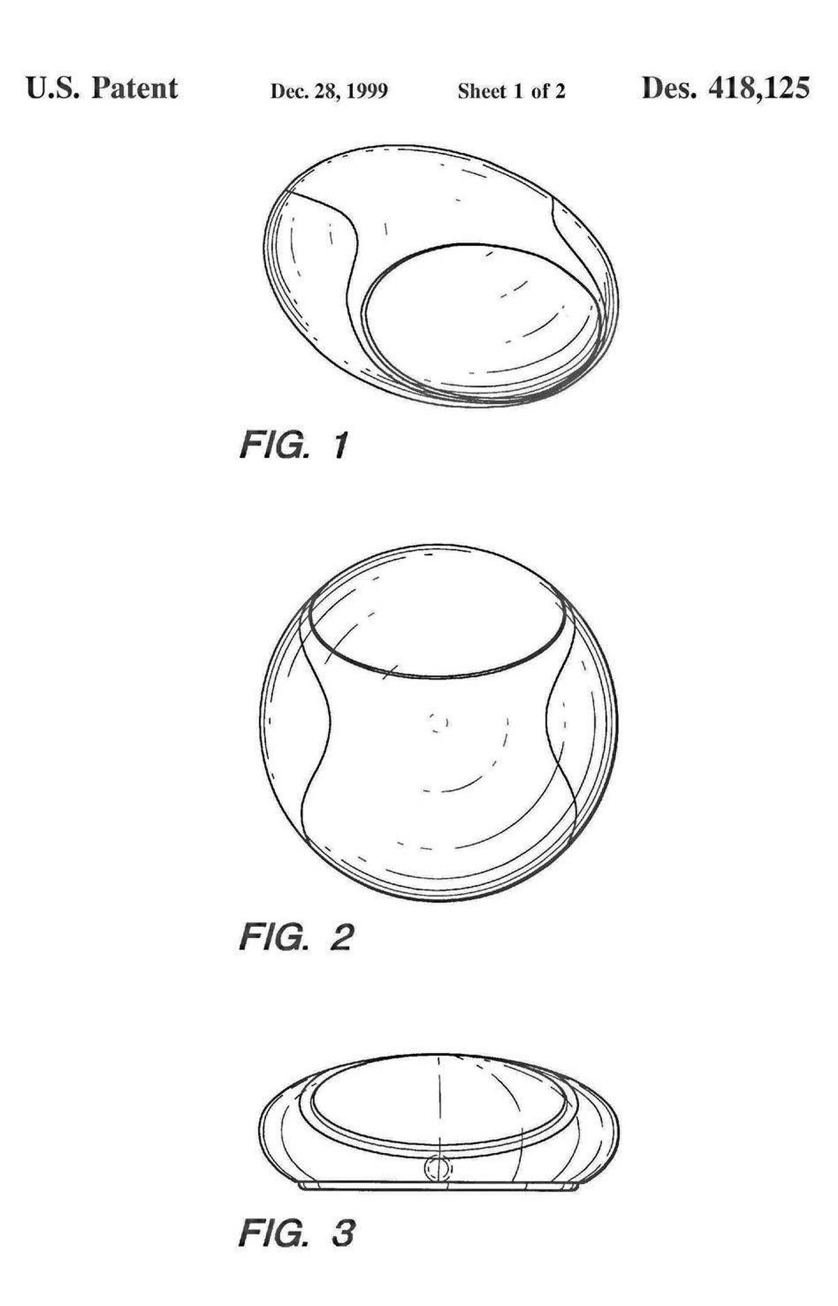 """The 1998 patent filing for a """"cursor control device"""" strongly resembles Apple's notorious hockey puck mouse that came with the early iMacs."""