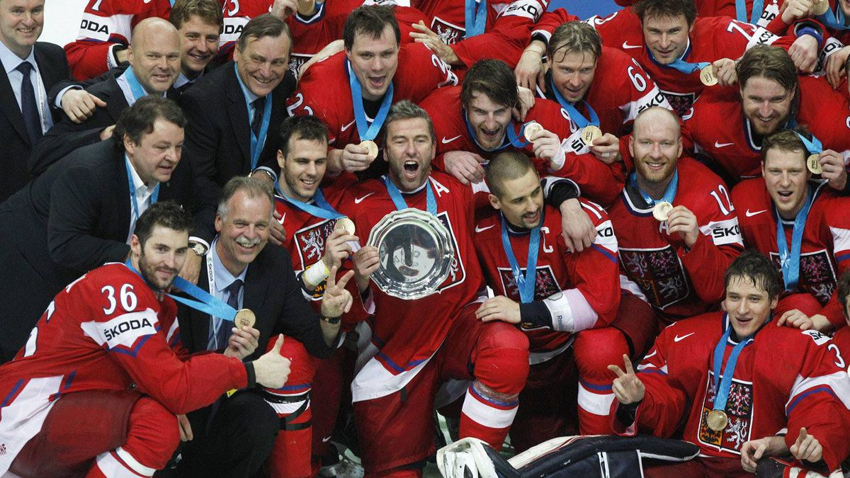 Czech team players celebrate with their trophy their 3-2 victory over Finland during their IIHF Hockey World Championships bronze medal match at the Hartwall Arena in Helsinki, Finland, Sunday, May 20, 2012.