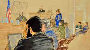 Omar Khadr sits in court for the sentencing phase of his trial on Oct. 26.