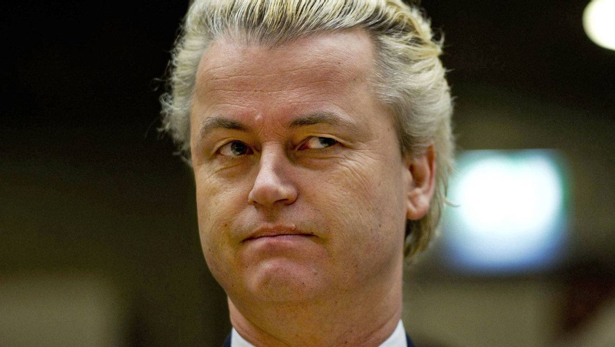 Dutch lawmaker Geert Wilders looks on in court during his trial for alleged hate speech in Amsterdam on Feb. 14, 2011.