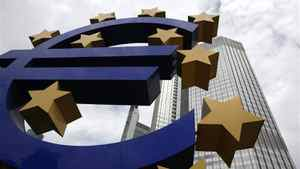 A huge euro logo stands in front of the headquarters of the European Central Bank (ECB) in Frankfurt.