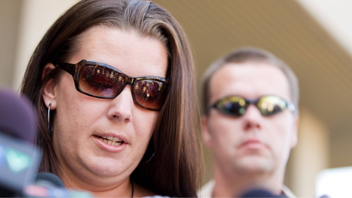 Tara McDonald, mother of slain Victoria Stafford, reads her victim impact statement to the media following the sentencing hearing for Michael Rafferty in London, Ontario, Tuesday, May 15, 2012.