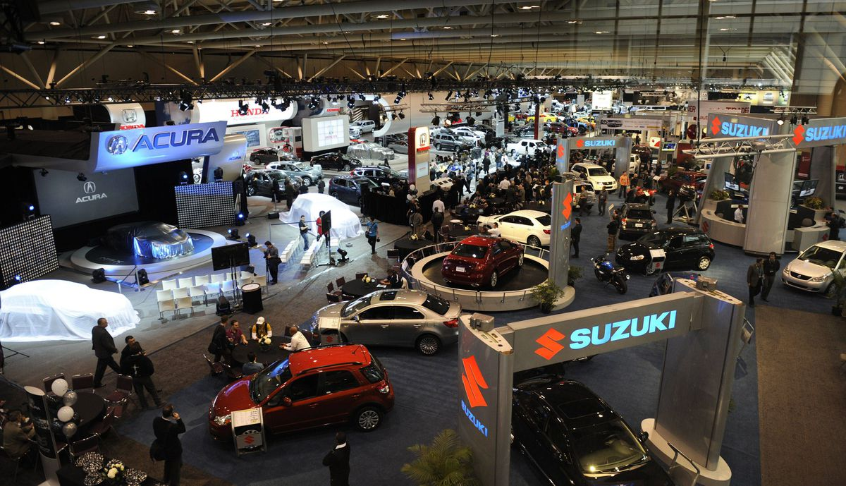 Overall view of the media preview of the Canadian International Auto Show in Toronto.