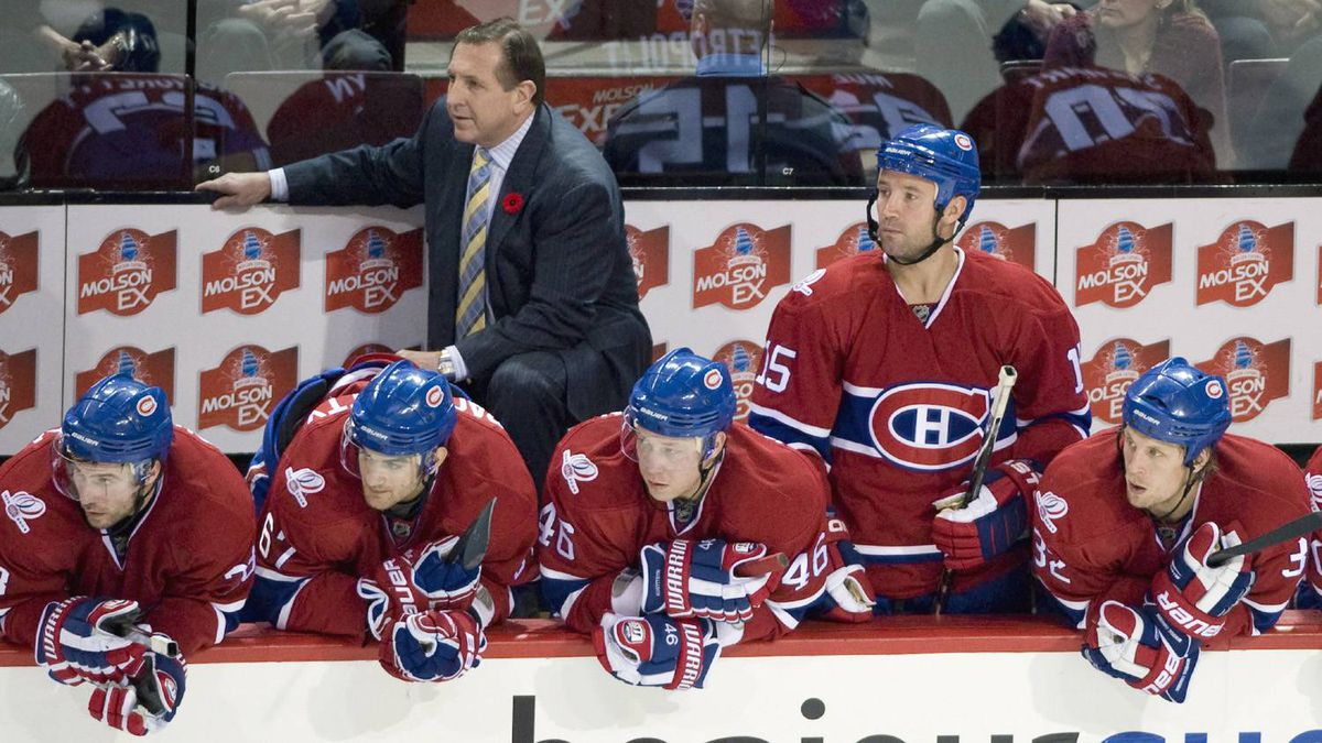 Montreal Canadiens head coach Jacques Martin and his players look on during the final minutes of their game with the Atlanta Thrashers on Tuesday night.
