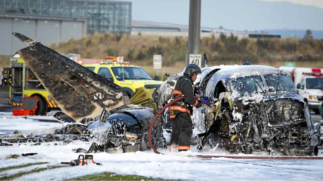 A small plane crash at the foot of the Vancouver International airport in Richmond, B.C. October 27, 2011.
