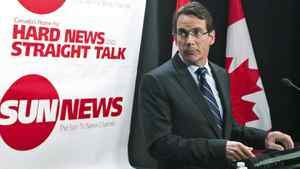 Quebecor chief executive Pierre Karl Peladeau announces the launch of Sun News at a Toronto news conference on June 15, 2010.