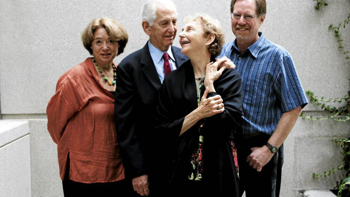 Daniel Ellsberg (centre) with his wife Patricia and filmmakers Judith Ehrlich and Rick Goldsmith.