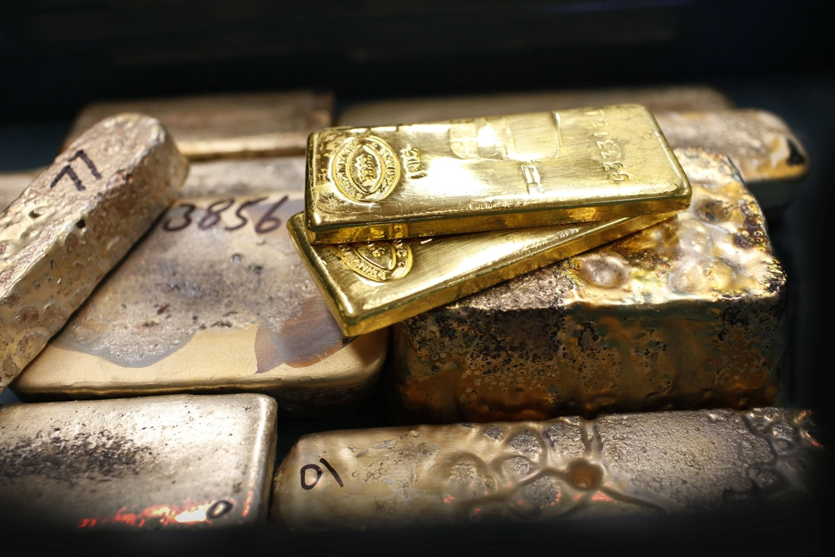 Gold bars from melted gold jewellery and pure gold bars are seen at Express Gold in Toronto