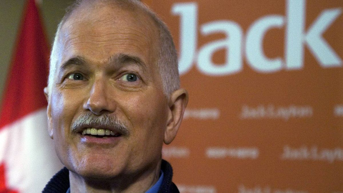 NDP Leader Jack Layton fields questions during a campaign stop in Regina on March 28, 2011.