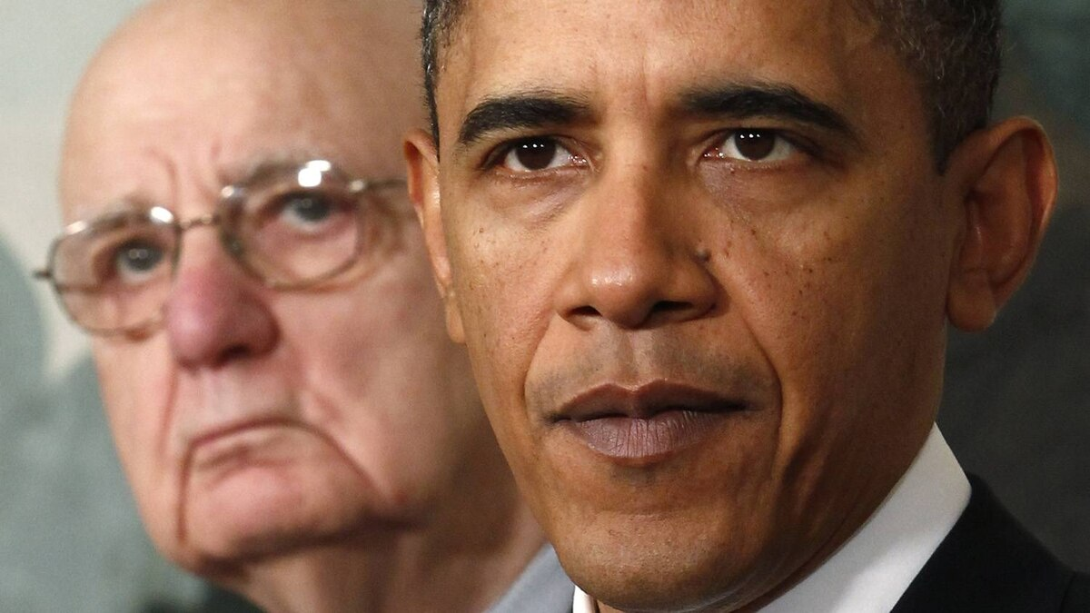 U.S. President Barack Obama speaks about financial reform after his meeting with Presidential Economic Recovery Advisory Board chair Paul Volcker, left, at the White House in Washington. Kevin Lamarque/Reuters