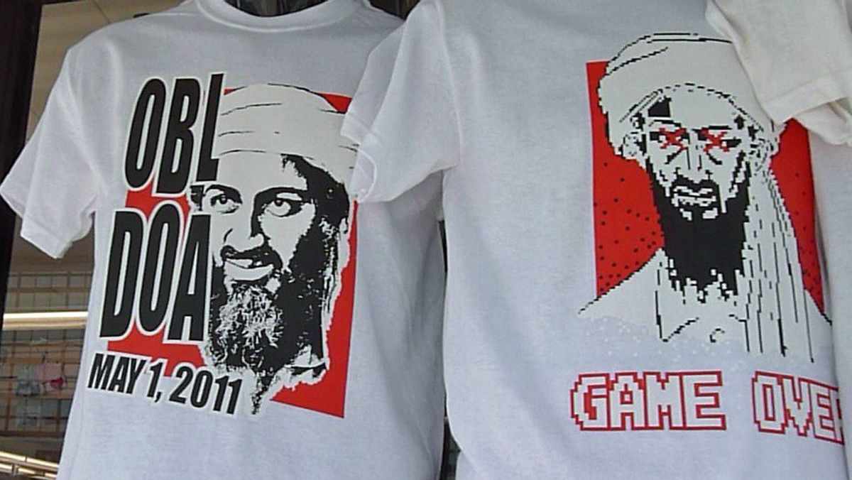 T-shirts featuing Osama Bin Laden are displayed in a shop window on May 7, 2011, in Virginia Beach, Va., home to the elite Navy SEAL unit that killed the al-Qaeda leader.