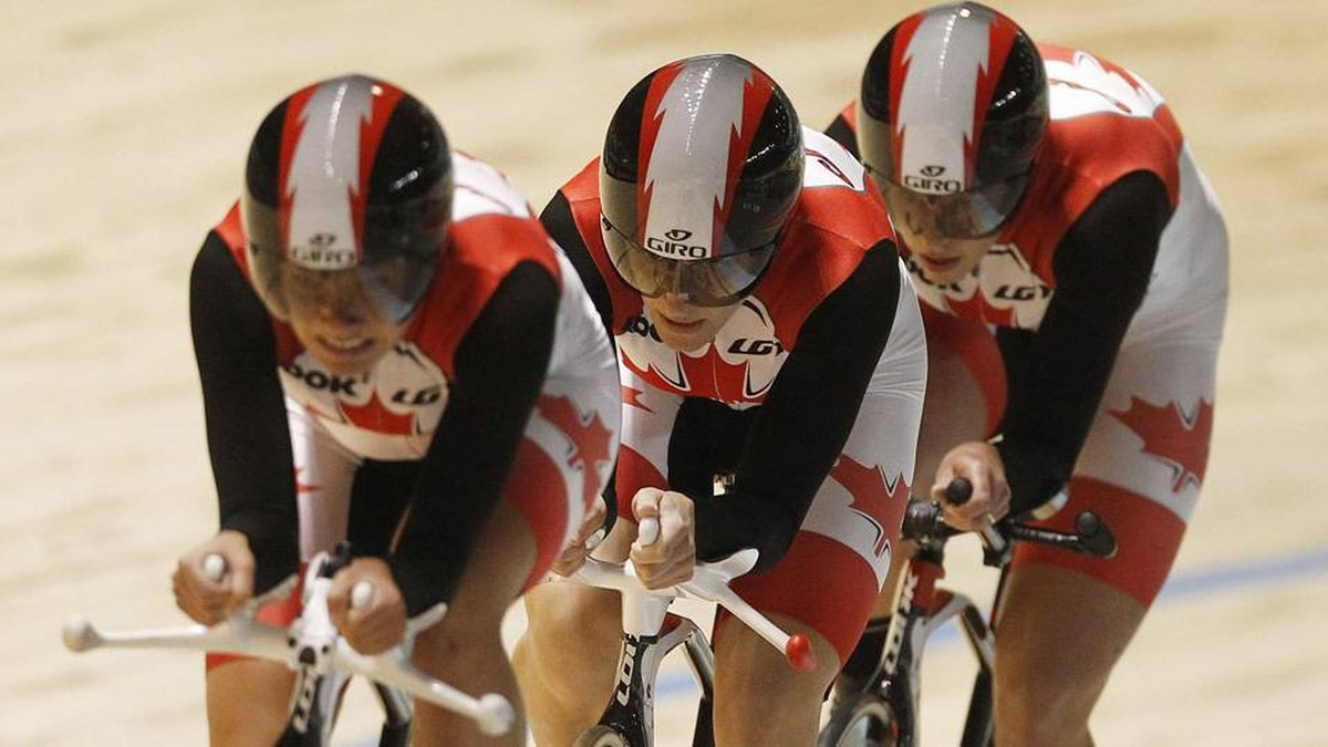 Team Canada's Tara Whitten, Jasmin Glaesser and Gillian Carleton compete to win bronze in the Women's Team Pursuit Final at the 2012 UCI Track Cycling World Championships in Melbourne.