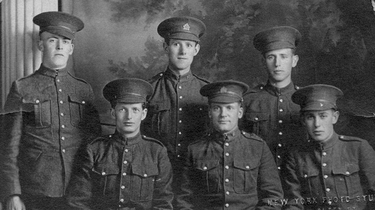 """An unidentified group of soldiers from WWI, submitted by Susan Morrison. Writes Susan: """"Although the inscription in the lower right corner says New York Photo Studio, Queen St., I am fairly certain these individuals were from the Toronto area as my grandmother lived there for a period of time during the war."""""""