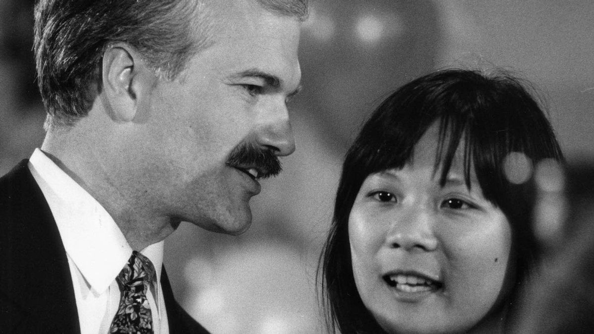 Jack Layton speaks to his wife Olivia Chow in November, 1991, after losing a bid to become mayor of Toronto.