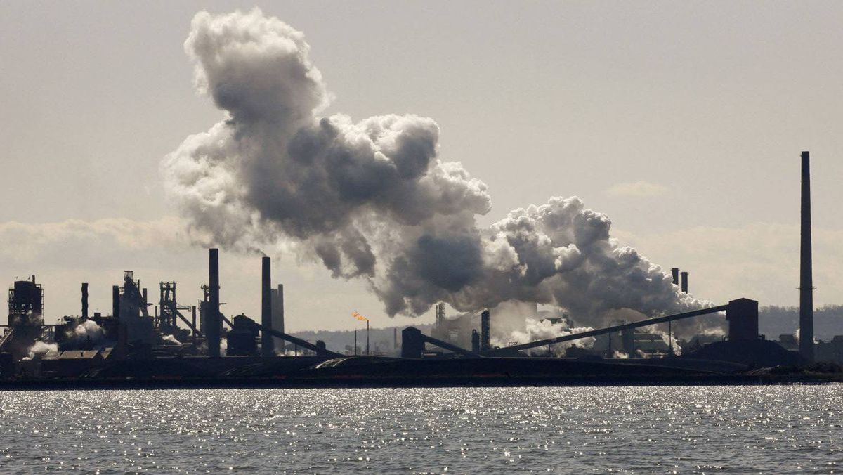 Steam billows from a stack at the U.S. Steel Canada plant, formerly Stelco, in Hamilton, March 4, 2009.